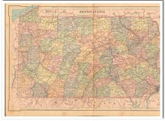 pennsylvania 1886 original hand colored antique state vintage map