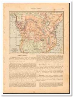 central africa 1886 original antique color vintage map