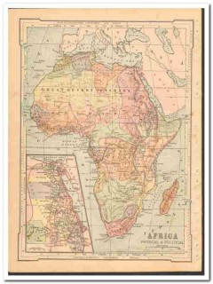 africa 1886 engravings antique color physical political vintage map