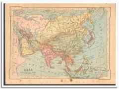 asia 1886 engravings original old antique color political vintage map