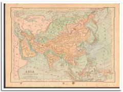 asia 1886 engravings original old antique color physical vintage map