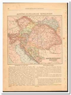 austro-hungarian monarchy 1886 original old antique color vintage map
