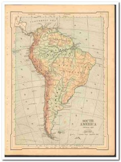 south america 1886 engravings original antique physical vintage map