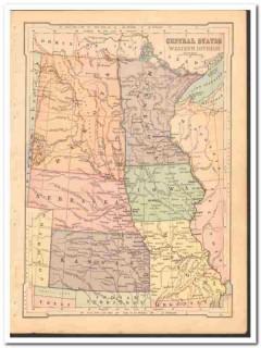 central states west 1886 nd sd ne ks mn ia original color vintage map