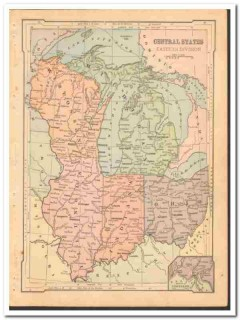 central states east 1886 il wi mi oh in original old color vintage map