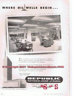 republic national bank dallas 1955 where oil wells begin vintage ad