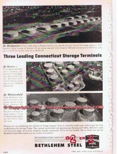 Bethlehem Steel Company 1955 Vintage Ad Oil Tanks CT Storage Terminals