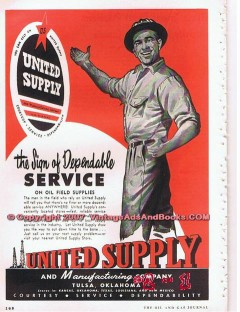 United Supply Mfg Company 1955 Vintage Ad Oil Sign Dependable Service