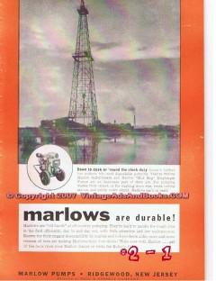 Marlow Pumps 1955 Vintage Ad Oil Field Dawn Dusk Round-The-Clock Duty
