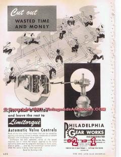 Philadelphia Gear Works 1955 Vintage Ad Oil Valve Control Cut Wasted