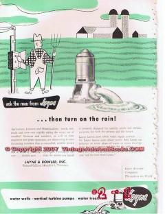 Layne Bowler Inc 1955 Vintage Ad Oil Field Water Wells Pumps Man Rain
