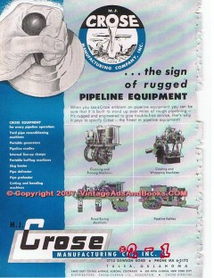 M J Crose Mfg Company 1955 Vintage Ad Oil Pipeline Equipment Rugged