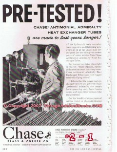 Chase Brass Copper Company 1955 Vintage Ad Oil Heat Exchanger Pretest