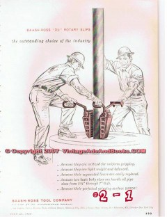 Baash-Ross Tool Company 1955 Vintage Ad Well Drilling Du Rotary Slips