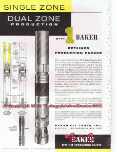 Baker Oil Tools Inc 1955 Vintage Ad Gas Well Retainer Production