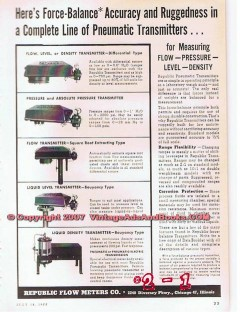 Republic Flow Meters Company 1955 Vintage Ad Oil Pneumatic Transmitter