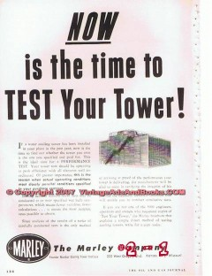 Marley Company 1955 Vintage Ad Oil Water Cooling Tower Refinery Test