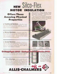 Allis-Chalmers 1955 Vintage Ad Amazing Silco-Flex Motor Insulation