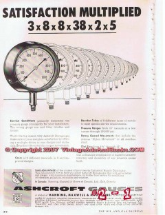 Manning Maxwell Moore Inc 1955 Vintage Ad Ashcroft Gauges Satisfaction