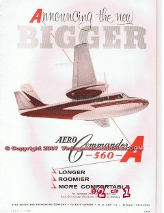 aero design engineering company 1955 bigger 560-a airplane vintage ad