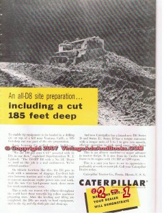 caterpillar tractor company 1955 d8 site preparation vintage ad