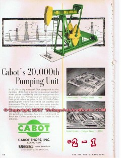 Cabot Shops Inc 1955 Vintage Ad Oil Well Drilling Pumping Unit Pampa
