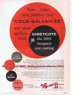 Amercoat Corporation 1955 Vintage Ad Oil Red Cold-Galvanize Dimetcote
