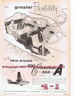 aero design and engineering 1955 commander c-560-a airplane vintage ad