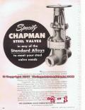 Chapman Valve Mfg Company 1955 Vintage Ad Oil Pipeline Steel Specify