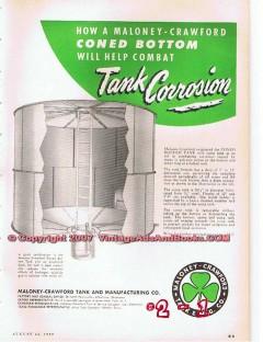 Maloney-Crawford Tank Mfg Company 1955 Vintage Ad Oil Combat Corrosion