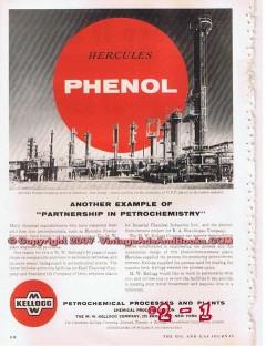 M W Kellogg Company 1955 Vintage Ad Oil Phenol Hercules Petrochemical