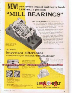 Link-Belt Company 1955 Vintage Ad Oil Field Drilling Mill Bearings