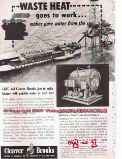 Cleaver-Brooks Company 1955 Vintage Ad Off-Shore Oil Well Waste Heat