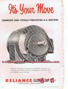 Reliance Electric Engineering Company 1955 Vintage Ad A-C Motors Move