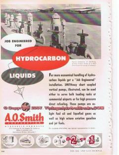 A O Smith Corp 1955 Vintage Ad Oil Gas Hydrocarbon Liquids Pumps