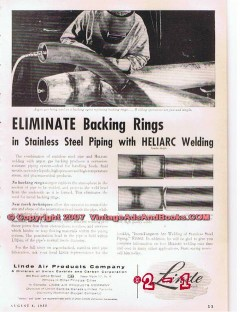 Linde Air Products Company 1955 Vintage Ad Oil Pipe Heliarc Welding