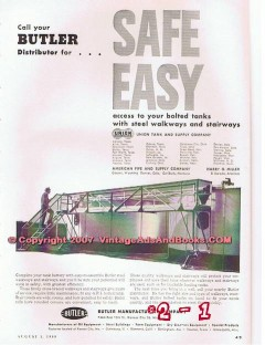 Butler Mfg Company 1955 Vintage Ad Oil Field Tank Steel Stair Walkways