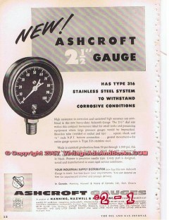 Manning Maxwell Moore Inc 1955 Vintage Ad Oil Ashcroft Gauge Stainless