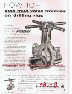 Rockwell Mfg Company 1955 Vintage Ad Oil Drilling Mud Valve Troubles