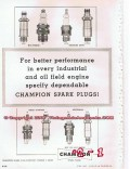 Champion Spark Plugs 1955 Vintage Ad Industrial Oil Engine Performance