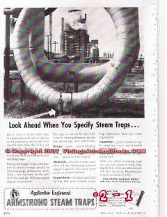 Armstrong Machine Works 1955 Vintage Ad Oil Specify Steam Traps