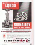 Lunkenheimer Company 1955 Vintage Ad Oil Valve Seats Discs Brinalloy