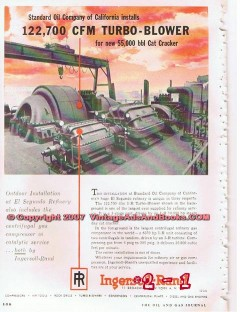 Ingersoll-Rand 1955 Vintage Ad Standard Oil Turbo Blower Cat Cracker