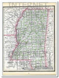 louisiana 1886 original hand colored antique state vintage map