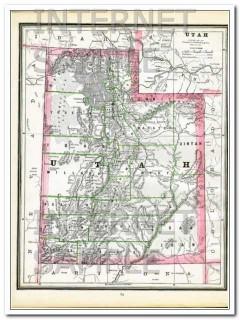 arizona and utah 1886 az ut hand colored old original vintage map