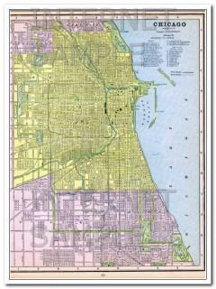 chicago and st. louis 1886 city il mo antique vintage map