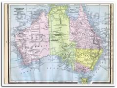 australia and tasmania 1886 vintage map