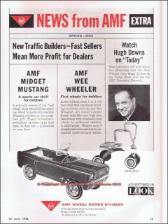 amf midget mustang 1966 peddle car bicycle wee wheeler vintage ad