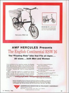amf hercules 1966 english continental rsw16 folding bicycle vintage ad