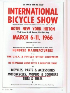 international bicycle show 1966 bikes parts mopeds scooters vintage ad